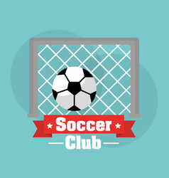 soccer club goal ball score sport vector image