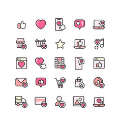 social network like filled outline icon set vector image