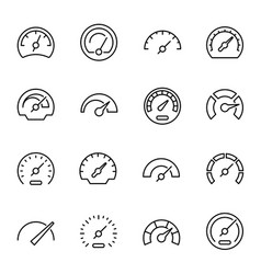 speedometers with arrows linear icons set vector image