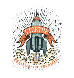 startup with a flying rocket ribbon vector image