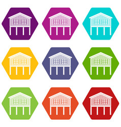 Stilt house icons set 9 vector