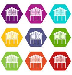 stilt house icons set 9 vector image