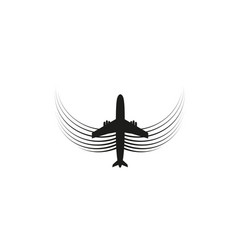 the plane with wings flies on the line tourism vector image