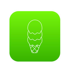 three balls ice cream icon green vector image