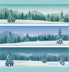 three snowy landscapes banner with wild nature vector image