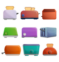 toaster icon set cartoon style vector image