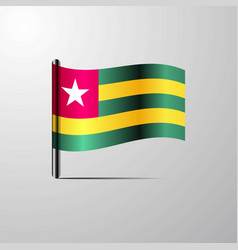 togo waving shiny flag design vector image