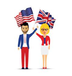 usa and uk flag waving man and woman vector image