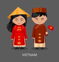 Vietnamese in national dress with a flag vector