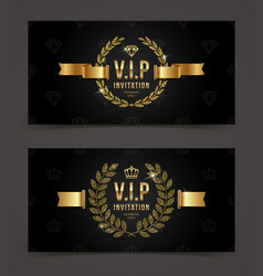 Vip golden invitation template vector
