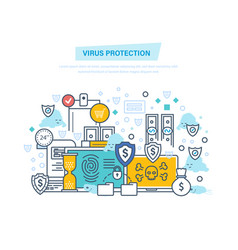 virus protection and attack protection of data vector image
