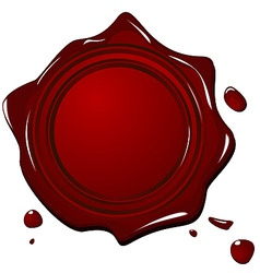 Wax grunge red seal vector