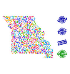 Welcome composition of mosaic map of missouri vector