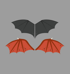 Wings isolated bat black animalwildlife fly vector