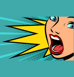 Woman screams emotions and reactions vector