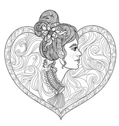 young beautiful girl coloring page vector image