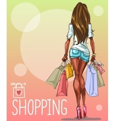Young woman with shopping bags background vector