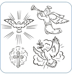 Angels and doves - vector image