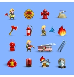 Firefighters Cartoon Icons Red Blue Set vector image vector image