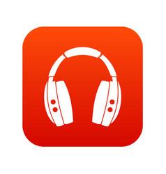 headphones icon digital red vector image vector image