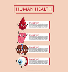 human health medical poster with internal organs vector image vector image