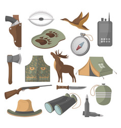 hunting icons set in cartoon style vector image