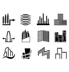 Real estate and city buildings symbol vector image vector image