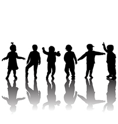 Silhouettes of children and shadows vector image vector image