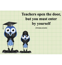 Teachers open the door vector