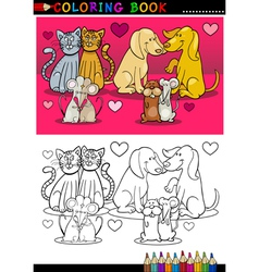 Animals in love cartoon for coloring book vector image vector image
