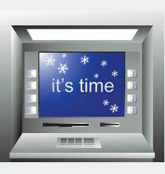 christmas cash machine vector image vector image