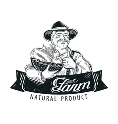 Fresh fruits food logo design template vector image vector image