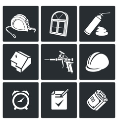 Installation windows Icons set vector image
