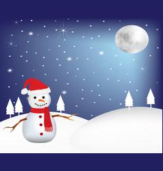 snowman at night at winter scene vector image