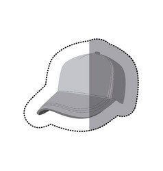 sticker grayscale silhouette with baseball cap vector image vector image