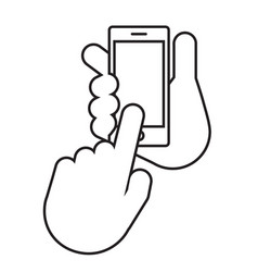 two hands the hand holds the smartphone vector image vector image