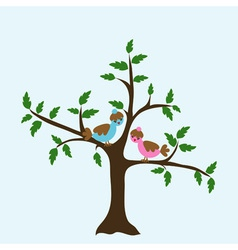 Decorative floral tree and bird vector image vector image