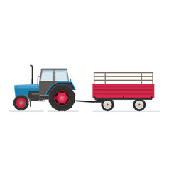 farm tractor with red trailer vector image