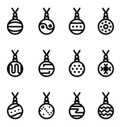line christmas ball icons set vector image