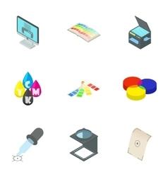 Printer icons set cartoon style vector image