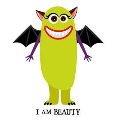 winged girl monster print design vector image