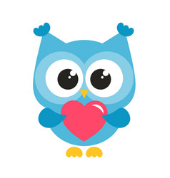 cute blue owl with heart vector image vector image