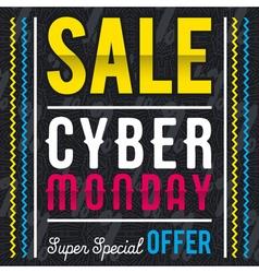 Cyber Monday sale banner on black patterned backgr vector image vector image