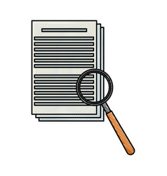 Drawing document paper magnifier search data vector