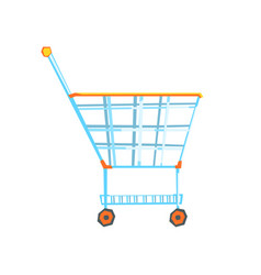 empty supermarket shopping cart with color wheels vector image vector image