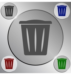 Flat paper cut style icon of trash can vector image