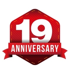 Nineteen year anniversary badge with red ribbon vector image