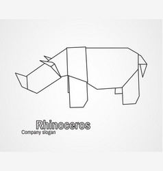 Origami logo contour rhinoceros vector