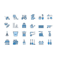 06 blue linear gardening icons set vector image