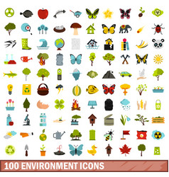 100 environment icons set flat style vector image